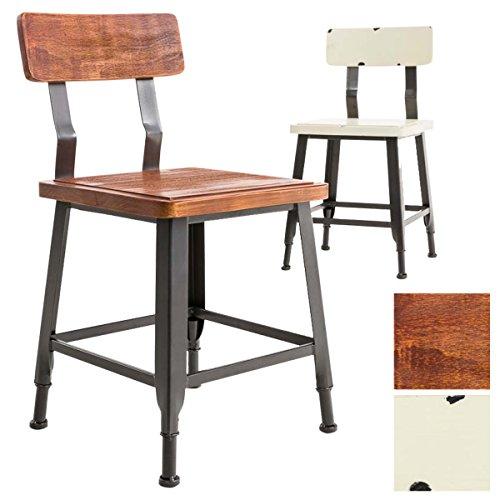 CLP Industrial Look-Stuhl TILL, mit Lehne, Material Holz Metall, Bistrostuhl, Retro-Design, Sitzhöhe 44 cm Bronze
