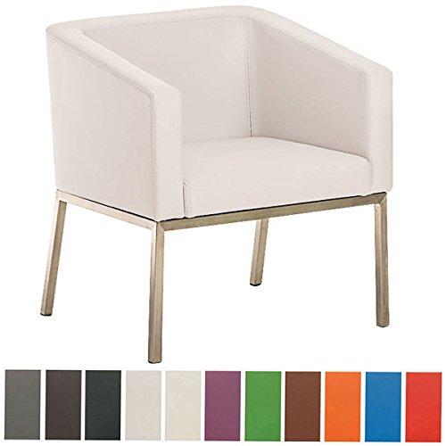 CLP Retro Edelstahl Loungesessel NALA mit Kunstlederbezug, gepolsterter Sessel mit Rückenlehne | Sitzhöhe 44 cm Weiß