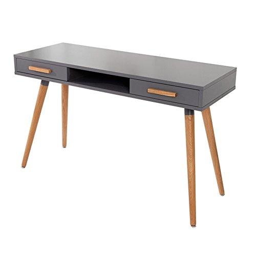 Design Retro Schreibtisch SCANDINAVIA MEISTERSTÜCK 120cm graphit Echt Eiche Konsole Konsolentisch Bürotisch Holztisch grau