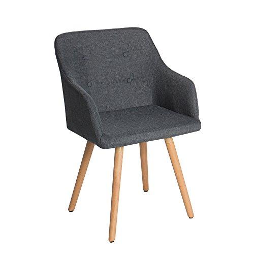 Design stuhl scandinavia meisterst ck buche gestell dunkelgrau mit armlehne grau im retro trend - Stuhl mit armlehne grau ...
