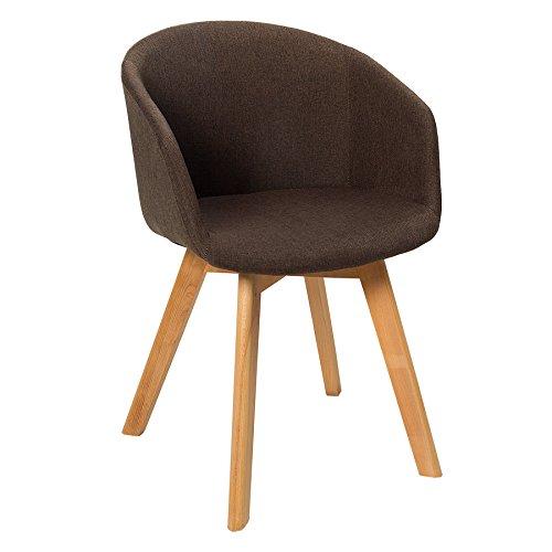 Design Stuhl STOCKHOLM Mit Armlehne Strukturstoff Braun Buche Gestell  Esszimmerstuhl Esszimmer Sessel