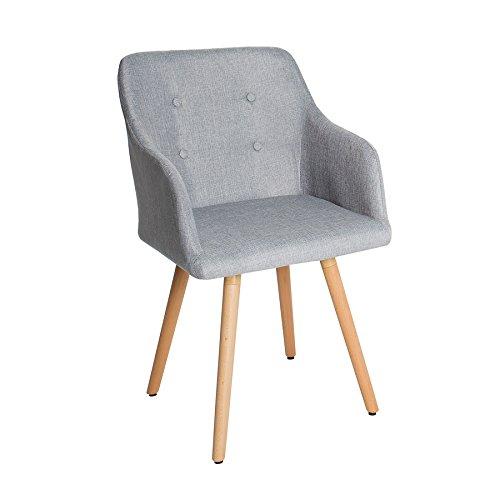 Design Stuhl grau SCANDINAVIA MEISTERSTÜCK Buche Gestell hellgrau mit Armlehne im Retro Trend Esszimmerstuhl Esszimmer