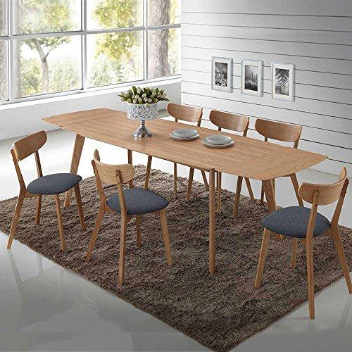 essgruppe aus eiche grau webstoff tisch ausziehbar 7 teilig ausf hrung 2 pharao24 retro stuhl. Black Bedroom Furniture Sets. Home Design Ideas