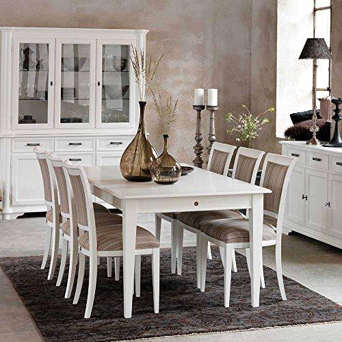 essgruppe in wei braun gestreift 7 teilig pharao24 retro stuhl. Black Bedroom Furniture Sets. Home Design Ideas