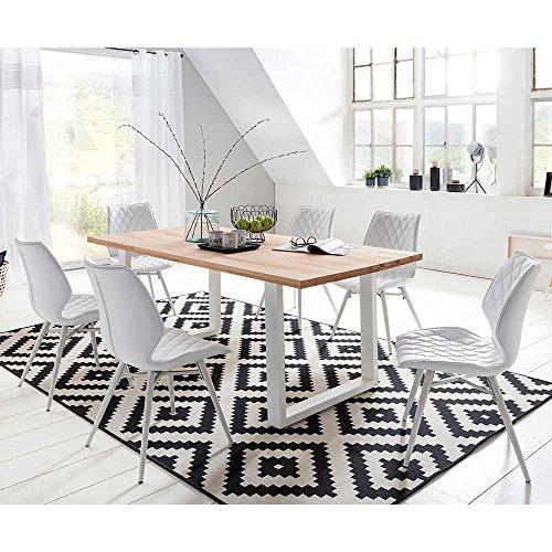 essgruppe in wei kunstleder kernbuche massivholz metall 7 teilig breite 200 cm tiefe 100 cm. Black Bedroom Furniture Sets. Home Design Ideas
