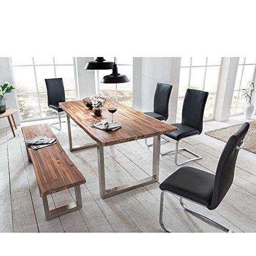 essgruppe mit baumkante bank 6 teilig pharao24 retro stuhl. Black Bedroom Furniture Sets. Home Design Ideas