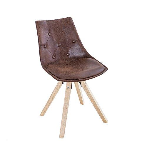 Exklusiver Design Stuhl VERY BRITISH in Antik braun mit Chesterfield Steppung Esszimmerstuhl Skandinavisch Esszimmer