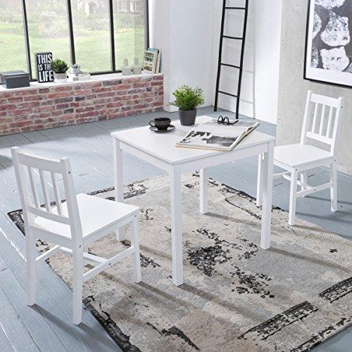 FineBuy Esszimmer-Set EMILIO 3 teilig Kiefer-Holz weiß Landhaus-Stil 70 x 73 x 70 cm | Natur Essgruppe 1 Tisch 2 Stühle | Tischgruppe Esstischset 2 Personen | Esszimmergarnitur massiv