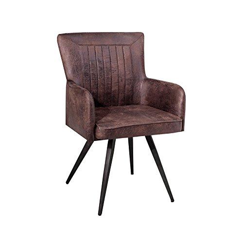 Hochwertiger Design Stuhl ROADSTER Retro antik braun Sattel-Optik Industrial Esszimmerstuhl Küchenstuhl