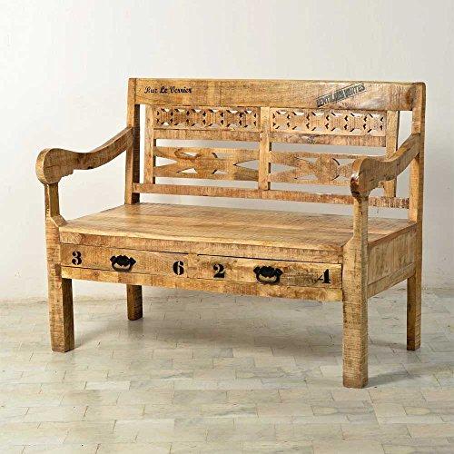 Holzbank mit Antik Finish Industry Style Pharao24