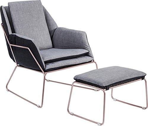 kare sessel mit hocker space andere grau 77 x 76 x 70 cm retro stuhl. Black Bedroom Furniture Sets. Home Design Ideas