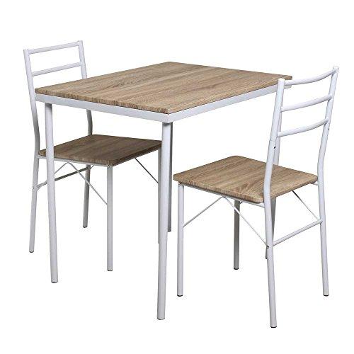 Küchen Sitzgruppe in Weiß Eiche Sonoma (3-teilig) Pharao24