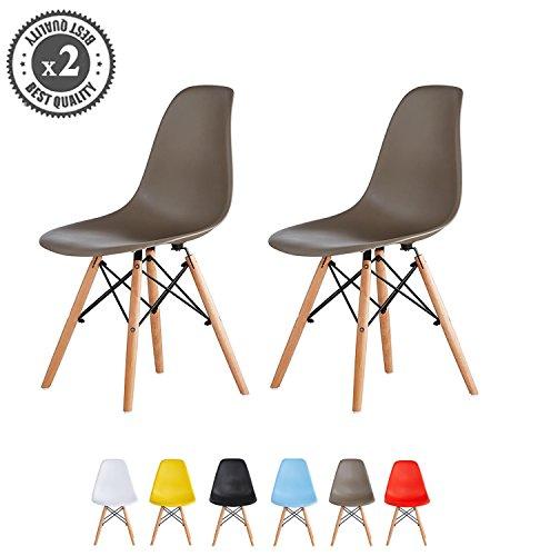 MCC Retro Design Stühle LIA im 2er Set, Eiffelturm inspirierter Style für Küche, Büro, Lounge, Konfernzzimmer etc., 6 Farben, KULT (taupe)