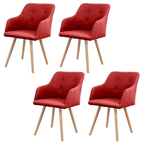 MCTECH® 4er Set Esszimmerstühle Besucher-Stuhl Esszimmerstuhl Wohnzimmerstuhl Stuhlgruppe Konferenzstühle Bürostuhl Küchenstuhl Büro (Rot)