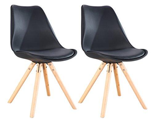 OYE HOYE Retro Designer Stuhl Esszimmerstühle Wohnzimmerstühl, mit bequem Gepolstertem Sitz, aus Hochwertigem Strapazierfähigem Kunststoff und Buchenholz - Schwarz/2er Set