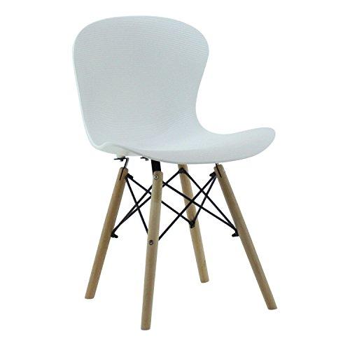 P & N Homewares® Alessia Eiffel Stuhl aus Kunststoff Gerippter DS Retro Weiß Schwarz Grau Rot Gelb Pink Grün Blau (Set von 4) Retro weiß