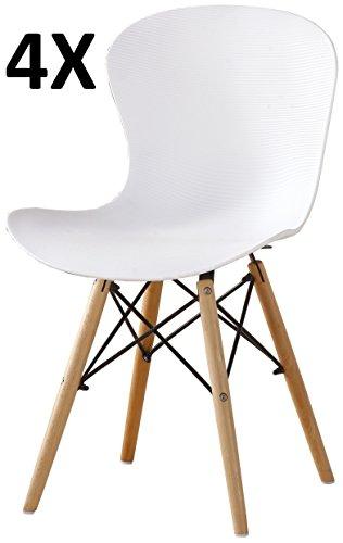 P & N Homewares® Alessia Eiffel Stuhl aus Kunststoff Gerippter Retro Weiß Schwarz Grau Rot Gelb Pink Grün Blau, weiß, 4er-Set