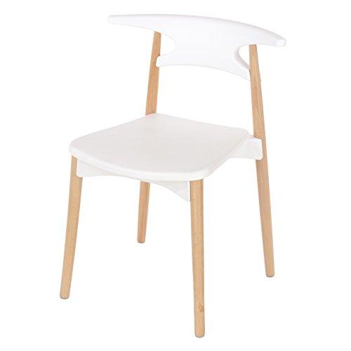P & N Homewares Basilio Retro Stuhl inspiriert, Kunststoff Esszimmer Büro Meeting Stuhl in weiß oder schwarz