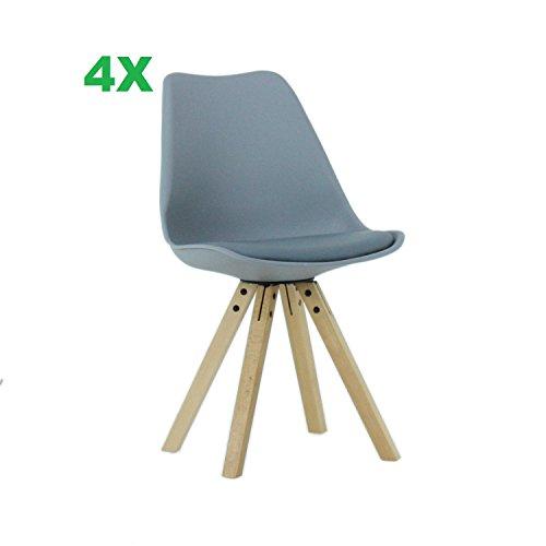 P & N Homewares® (Satz von 4) Sofia Eiffelturm inspiriert Stuhl aus Kunststoff Retro Weiß Schwarz Grau Rot Gelb Pink Grün Blau weiß Skandinavischen Stuhl (GRAU)