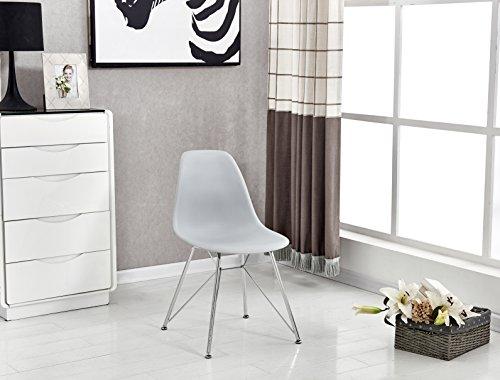 P & N Homewares® Valentina Eiffelturm inspiriert Stuhl aus Kunststoff Retro Weiß Schwarz Grau Esszimmerstuhl Büro Stuhl Lounge Grey with Chrome Legs