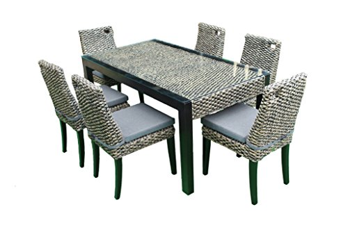 rattan wasserhyazinthe lounge essset pisa 13 teilig esstisch stuhl set essgruppe tischgruppe. Black Bedroom Furniture Sets. Home Design Ideas
