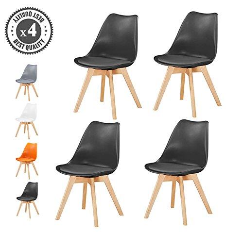 retro esszimmerst hle gepolstert design stuhl k che lounge 4er set eva schwarz retro stuhl. Black Bedroom Furniture Sets. Home Design Ideas