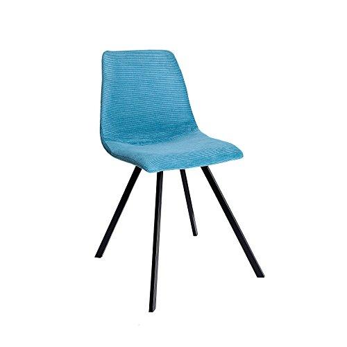 Retro Stuhl Amsterdam Chair Turkis Blau Cord Designklassiker Esszimmerstuhl Konferenzstuhl