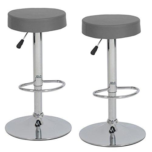 Ribelli® Barhocker höhenverstellbar 2er Set rund, 360° drehbar-als Barstuhl sowie Tresenhocker-mit Kunstleder-Polster und Chromgestell - Farbe: GRAU