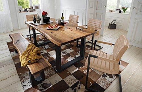 SAM® 6 tlg. Essgruppe Quentin, je 1x Baumkantentisch 180x90cm & -bank 180x40 cm, Akazie-Holz, 4x Schwingstuhl Parzivo in silber