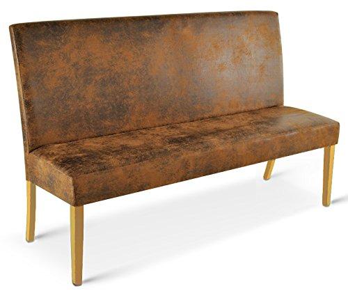 SAM® Sitzbank Sergio 140 cm in Wildlederoptik, Stoff mit buche-farbigen Beinen aus Pinien-Holz, Bank mit Rückenlehne in zeitloser Optik, gepolsterte Essbank für angenehmen Sitzkomfort