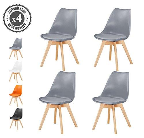 Set von 4stylischer Deluxe Esszimmer Stühle Mit Holzbeinen & Soft Kissen Pad Inspired By Eames Retro Lounge Esszimmer Büro, EVA von MCC grau