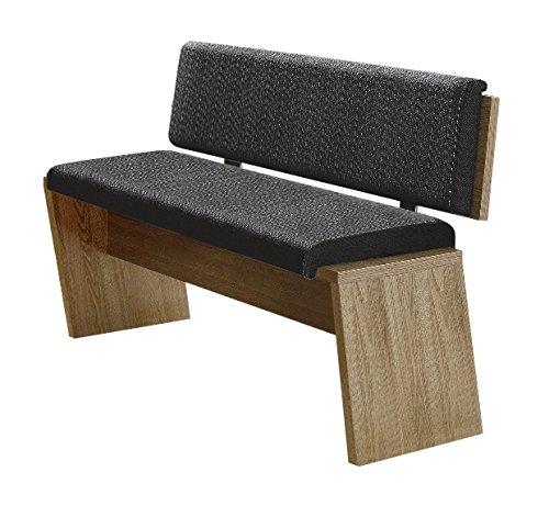 Stella Trading Sitzbank mit Kissen und Rückenlehne, Holz, braun, 126 x 54 x 83 cm