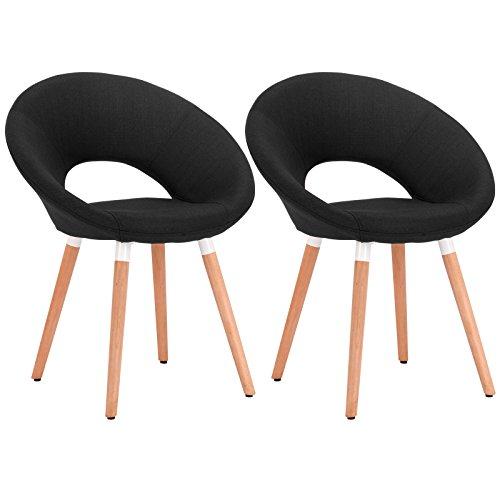 WOLTU® 2er Set Esszimmerstühle Küchenstühle Wohnzimmerstühle Design Stuhl Retro Stuhl Polsterstuhl mit Rückenlehne Stoffbezug (Leinen) Massivholz Schwarz BH72sz-2