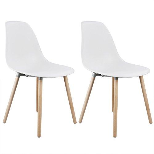 Woltu 2er Set Esszimmerstuhle Kuchenstuhle Wohnzimmerstuhl Design Stuhl Kunststoff Massivholz Weiss