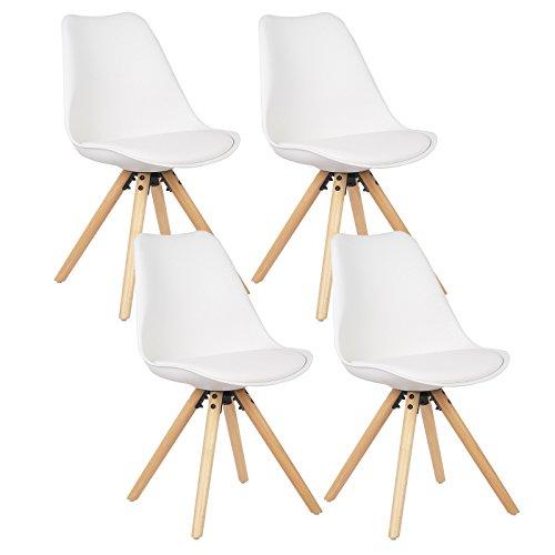 WOLTU® 4 x Esszimmerstühle 4er Set Esszimmerstuhl mit Sitzfläche aus Kunstleder Design Stuhl Küchenstuhl Holz, Neu Design, Weiß BH52ws-4