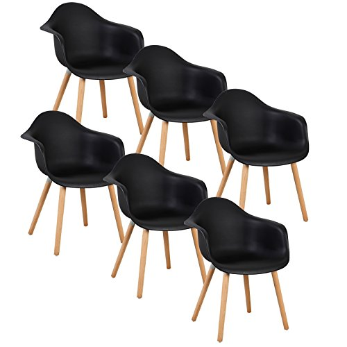 WOLTU® 6er Set Esszimmerstühle Küchenstuhl Design Stuhl Esszimmerstuhl mit Lehne Kunststoff Holz Neu Design Schwarz BH37sz-6