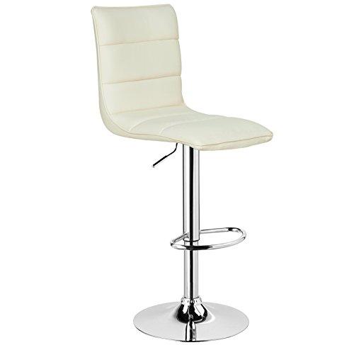 WOLTU BH15cm-1 1 x Barhocker Design Bar Hocker , 1 Stück Barstuhl , stufenlose Höhenverstellung , verchromter Stahl , pflegeleichter Kunstleder , gut gepolsterte Sitzfläche , Antirutschgummi , Creme