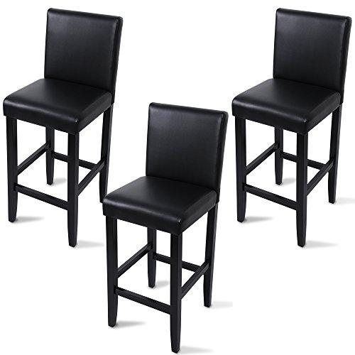 woltu bh21sz 3 barhocker bistrostuhl holz kunstleder bistrohocker mit lehne 3er set. Black Bedroom Furniture Sets. Home Design Ideas