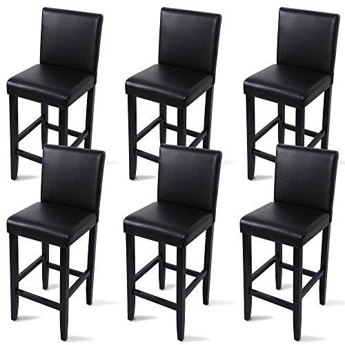 WOLTU BH21sz-6 Barhocker Bistrostuhl Holz Kunstleder Bistrohocker mit Lehne , 6er Set , Massivholz , Antirutschgummi , Kunstleder , dick gepolsterte Sitzfläche , schwarz