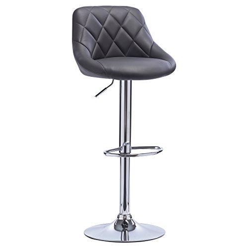 WOLTU BH23gr-1 1er Barhocker Barstuhl, leichte reinige Kunstleder, gute gepolsterte Sitzfläche , Höhenverstellbar, 360° Drehbar, Farbwahl, in Grau