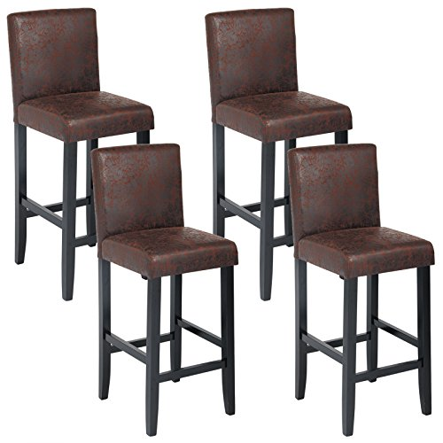 woltu bh38dbr 4 barhocker bistrostuhl bistrohocker mit lehne 4er set schwarze beine aus. Black Bedroom Furniture Sets. Home Design Ideas