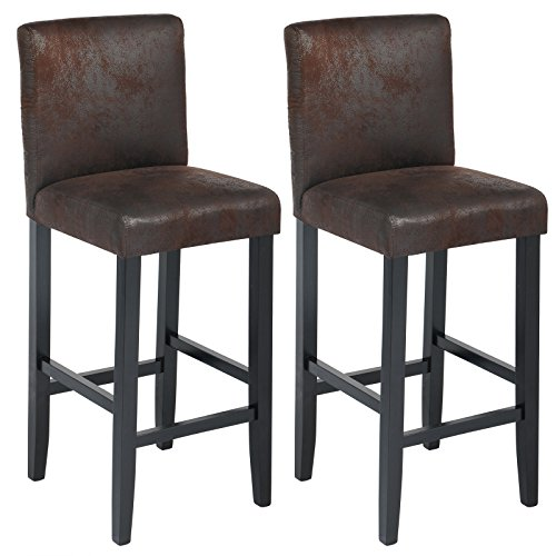 woltu bh38sz 2 barhocker bistrostuhl holz kunstleder bistrohocker mit lehne 2er set schwarze. Black Bedroom Furniture Sets. Home Design Ideas