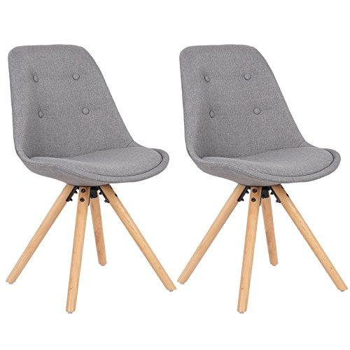 WOLTU® BH54gr-2 2 x Esszimmerstühle 2er Set Esszimmerstuhl, Sitzfläche aus Leinen, Design Stuhl, Küchenstuhl, Holzgestell, Neu Design, Grau