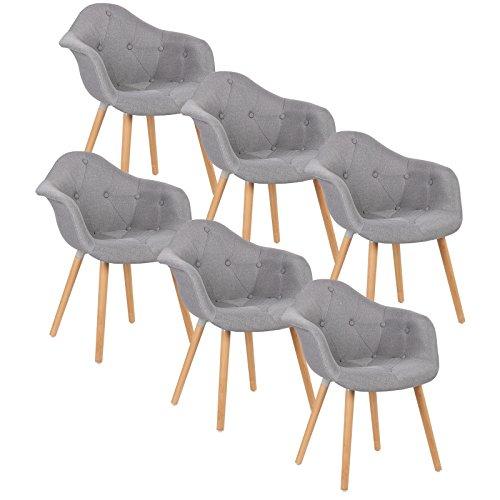 WOLTU® BH55gr-6 6 x Esszimmerstühle 6er Set Esszimmerstuhl mit Lehne Design Stuhl Küchenstuhl Leinen Holz Grau