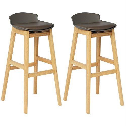 WOLTU® BH56br-2 2 x Barhocker 2er Set Barstühle gut gepolsterte Sitzfläche aus Kunstleder Design Stuhl Holz Braun