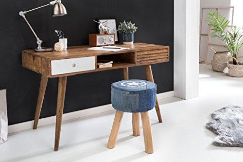 wohnling schreibtisch repa mit 2 schubladen repa 120 x 60 x 75 cm holz wei retro stuhl. Black Bedroom Furniture Sets. Home Design Ideas