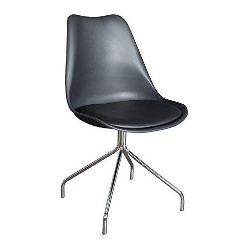 Zeitloser Design Stuhl SPIDER schwarz mit hochwertig verchromten Stuhlgestell Designklassiker