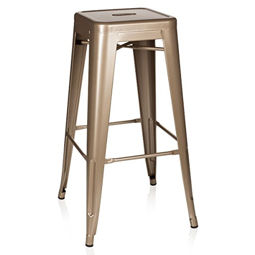 hjh OFFICE 645013 Barhocker VANTAGGIO HIGH Metall Gold Retro-Hocker im Industry-Design, stapelbar