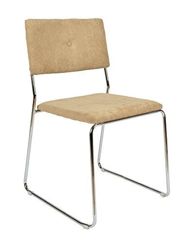 ts-ideen 1x Design Wohnzimmer Esstisch Küchen Stuhl Esszimmer Sitz aus Cord + Metall in Beige