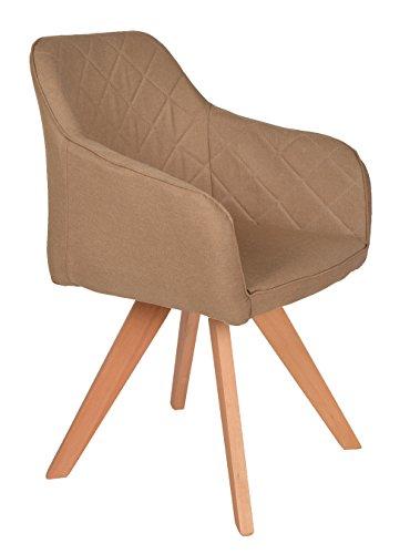 ts-ideen Lounge Design Sessel Barsessel Clubsessel Stoff in Hell-Braun Esstisch-Stuhl Füße aus Buchenholz